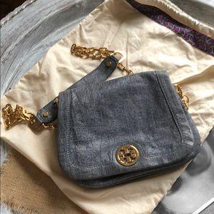 Tory Burch Blur Leather denim look clutch